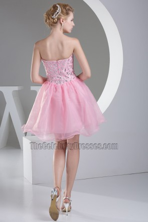 Pink Sweetheart Strapless A-Line Party Homecoming Dress With Beading