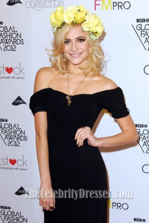Pixie Lott Black Off-the-Shoulder Prom Dress WGSN Global Fashion Awards