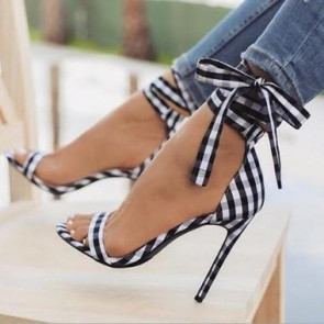 Plaid Open-toe Stiletto Heels With Lace-up Shoes For Women