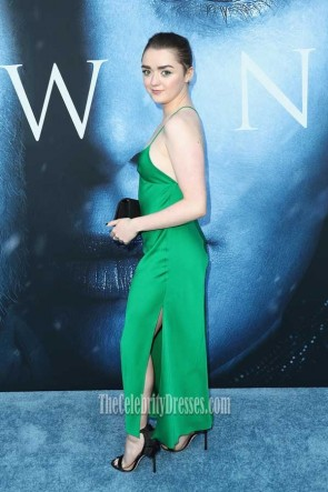 Maisie Williams Hunter Halter Spaghetti Straps High Slit Party Dress premiere of HBO's