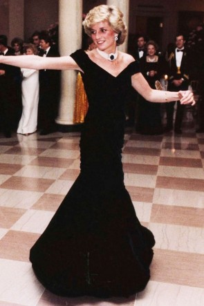 Princess Diana Dark Navy Off-the-shoulder Evening Dress