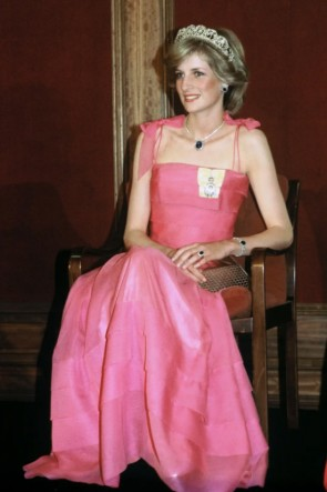 Princess Diana Pink Formal Dress In State Reception