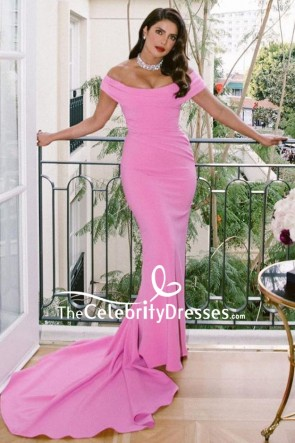 Priyanka Chopra Candy Pink Mermaid Formal Dress Golden Globes 2020 TCD8901