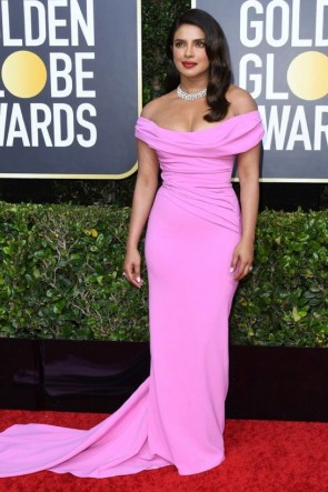 Priyanka Chopra Candy Pink Mermaid Formal Dress Golden Globes 2020