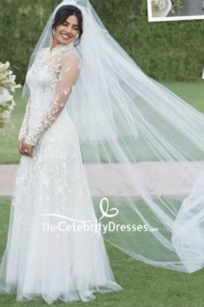 Priyanka Chopra White Luxury Applique Wedding Dress