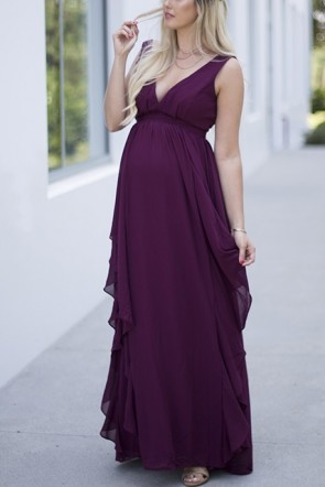 Purple Deep V-neck Sleeveless Ruffled Cheap Maternity Gown