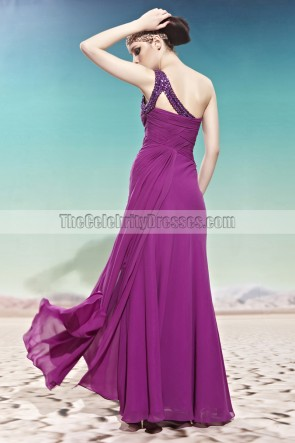 Purple One Shoulder Floor Length Beaded Evening Prom Dresses