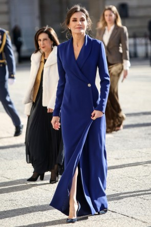 Queen Letizia of Spain Blue Tuxedo Dress New Year's Military Parade