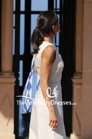 Queen Letizia White Button Dress Spain Son Marroig Museum TCD8610