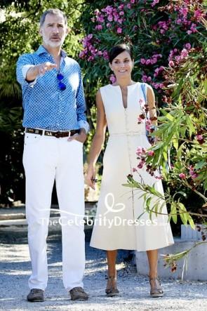 Queen Letizia Spain Son Marroig Museum White Button Dress