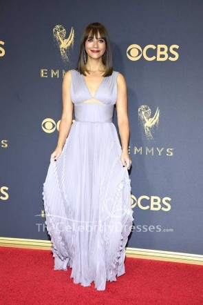 Rashida Jones Chiffon Cut Out Evening Dress 2017 Emmy Awards Red Carpet Gown TCD7534
