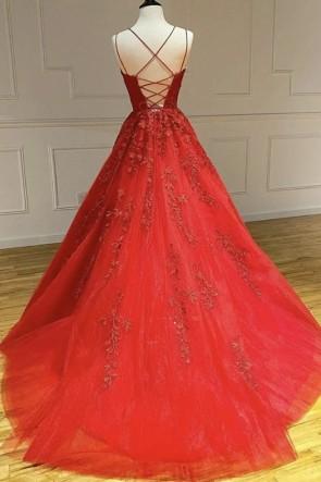 Red Applique Spaghetti Straps Wedding Gown