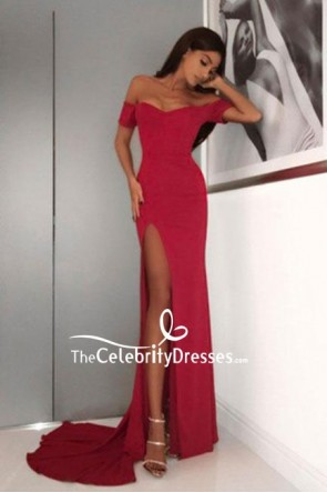 Red Off the Shoulder Evening Gown Prom Dress With Thigh-high Slit
