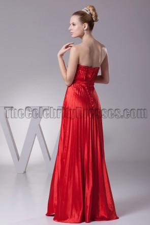 Floor Length Red Strapless Bridesmaid Prom Evening Dresses