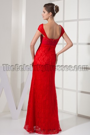 Red Cap Sleeve Prom Gown Evening Formal Dresses