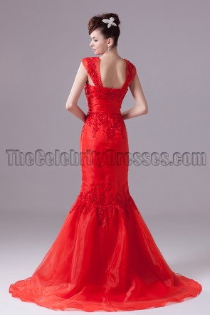 Red Mermaid Embroidery Formal Dress Prom Evening Gown