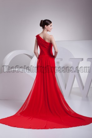 Elegant Red One Shoulder Chiffon Prom Bridesmaid Dresses