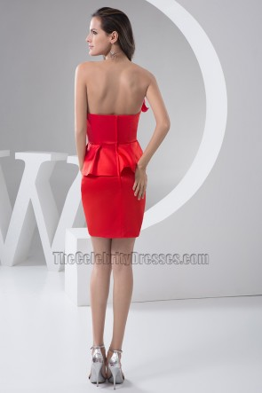 Celebrity Inspired Red Strapeless Party Cocktail Grauation Dresses