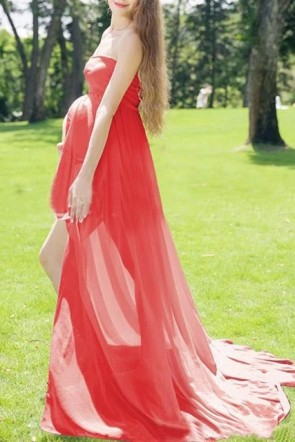 Red Strapless Slit Maxi Long Maternity Dress