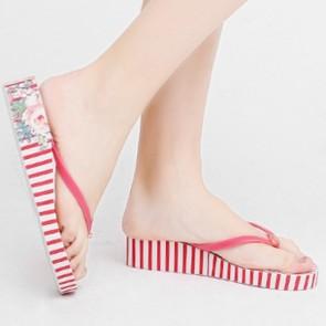 Red Striped Print Wedge Platform Flip Flops