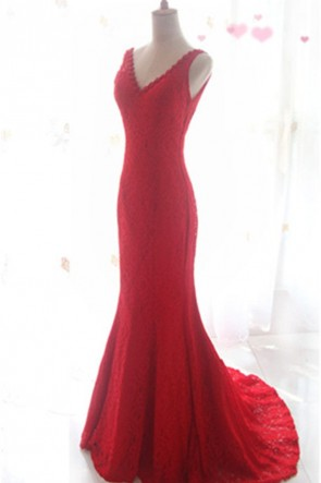 Red Lace V-neck Mermaid Formal Dresses Evening Gown