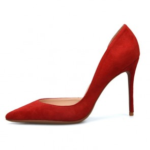 Red Women's Suede Stiletto Heels Pointed Toe Prom Shoes