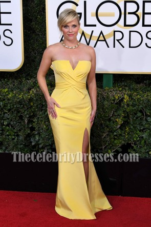Reese Witherspoon Yellow Strapless Ruffle Slit Evening Prom Gown 2017 Golden Globe Awards TCD7125