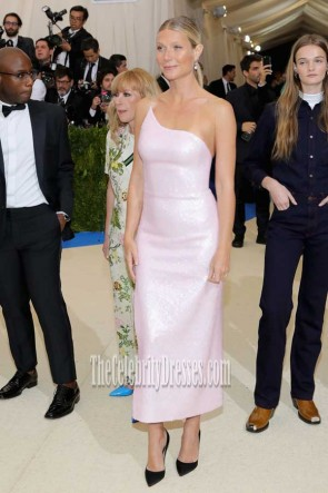 Gwyneth Paltrow Pink One-shoulder High Slit Sequins Dress 2017 Met Gala TCD7396