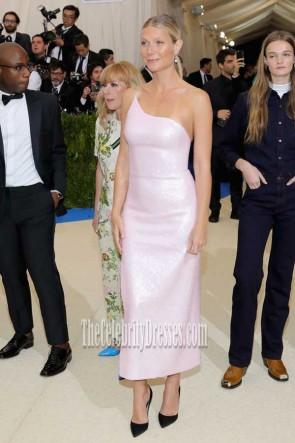 Gwyneth Paltrow Pink One-shoulder High Slit Sequins Dress 2017 Met Gala TCD7396