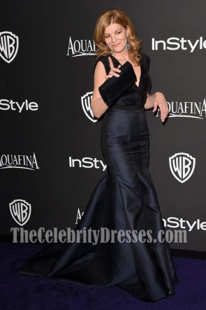 Rene Russo Black Deep V-neck Evening Dress Golden Globe Awards TCD7005