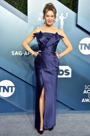 Renee Zellweger Dark Navy Strapless Formal Dress 2020 SAG Awards