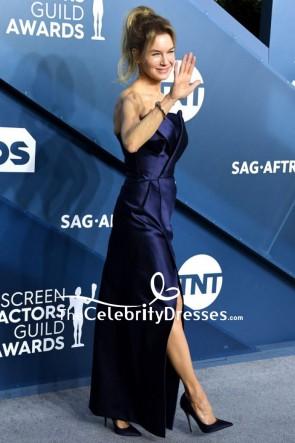 Renee Zellweger Dark Navy Strapless Formal Dress 2020 SAG Awards TCD8832