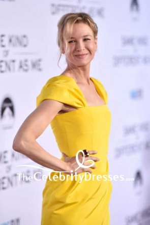 Renee Zellweger Yellow Cap Sleeves Cocktail Dress Same Kind Of Different As Me Premiere TCD7552