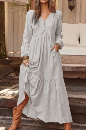 Vintage Solid V-neck cotton Long Dress