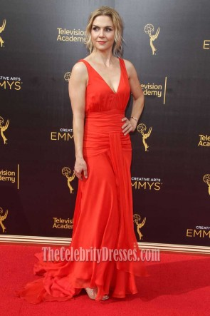 Rhea Seehorn Red Chiffon Deep V-neck Evening Prom Gown Emmys 2016 TCD7405