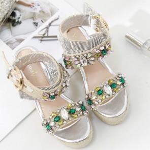 Rhinestone Crystal Wedge Sandals With Buckle