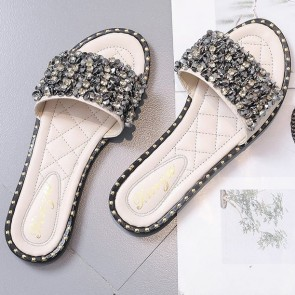 Rhinestone Decor Flat Slides