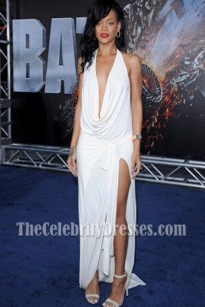 Rihanna White Halter Backless Evening Dress Battleship Premiere