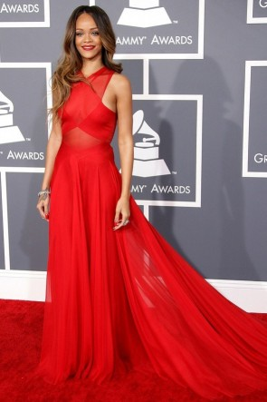 Rihanna Red Prom Dress Grammys 2013 Red Carpet Gown