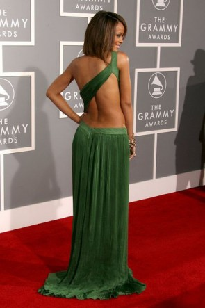 Rihanna Green Cut Out Prom Gown Formal Evening Dresses Grammy Red Carpet