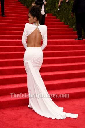 Rihanna White Two Piece Evening Dress 2014 Met Gala Red Carpet Gown