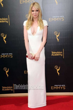 Riki Lindhome White Cap Sleeves V-neck Long Sheath Dress Emmys 2016 TCD7402