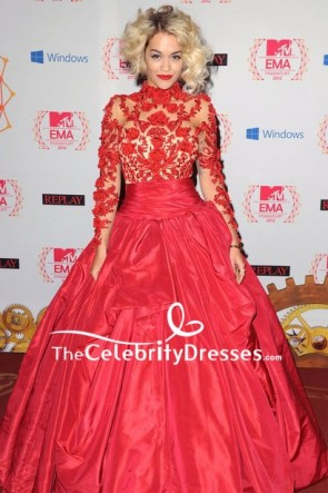 Rita Ora Red Embroidered Ball Gown With Long Sleeves MTV EMAs 2012