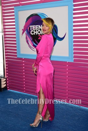 Rita Ora Hot Pink Deep V-neck Wrap Dress With Sleeves 2017 Teen Choice Awards TCD7454