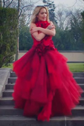 Rita Ora Red Ruffled Prom Dress In Video 'For You'