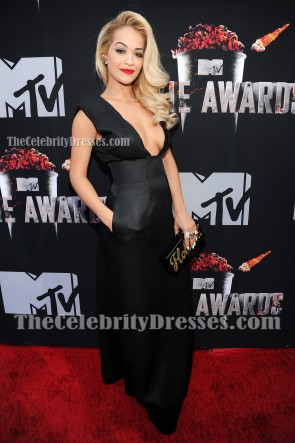 Rita Ora Black Deep V-neck Evening Prom Gown 2014 MTV Movie Awards TCD6794