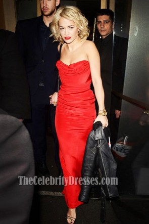 Rita Ora Red Strapless Prom Dress Evening Gown Nobu in London