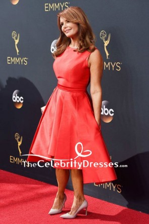Roma Downey Red Cocktail Dress 2016 Emmy Awards Red Carpet TCD7829