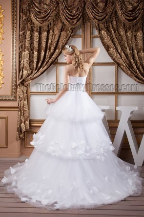 Romantic Strapless Ball Gown Chapel Train Wedding Dresses