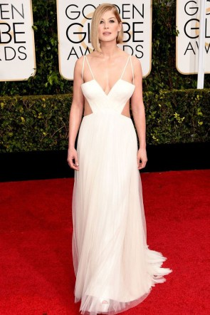 Rosamund Pike 2015 Golden Globe Awards Sexy Halter Open Back Dress